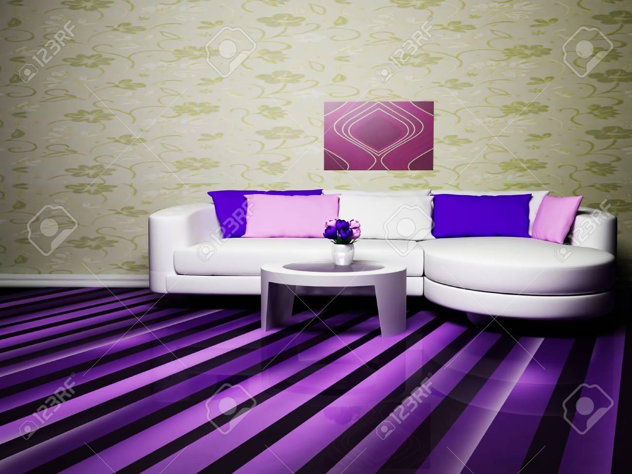 Moderne Innenarchitektur Wohnzimmer Mit Einem Schönen Sofa Und Tisch