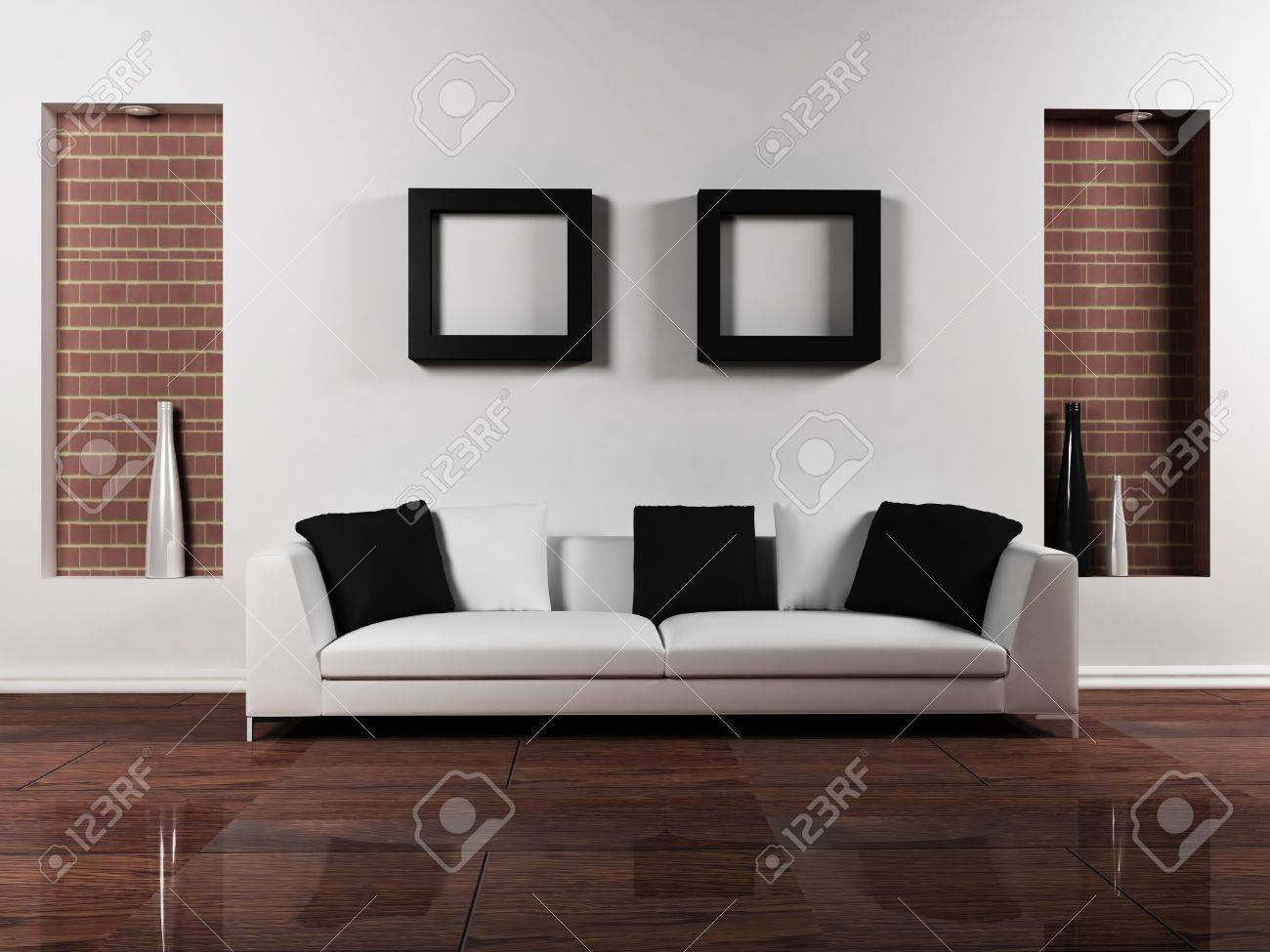 Diseño moderno interior del salón-comedor con un bonito sofá