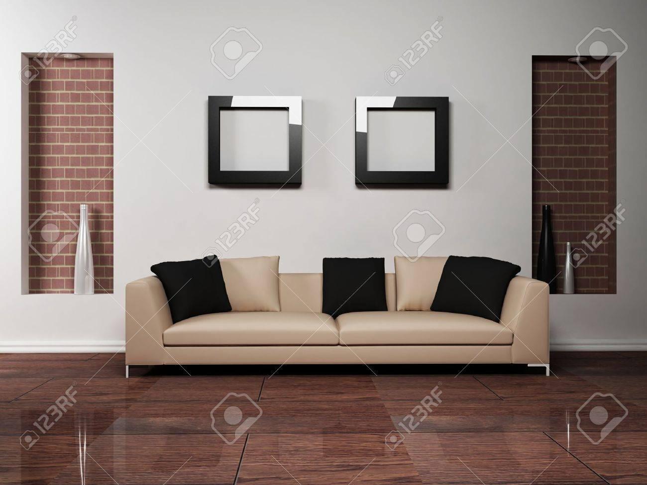 Moderne Innenarchitektur Des Wohnzimmers Mit Einem Schönen Sofa ...