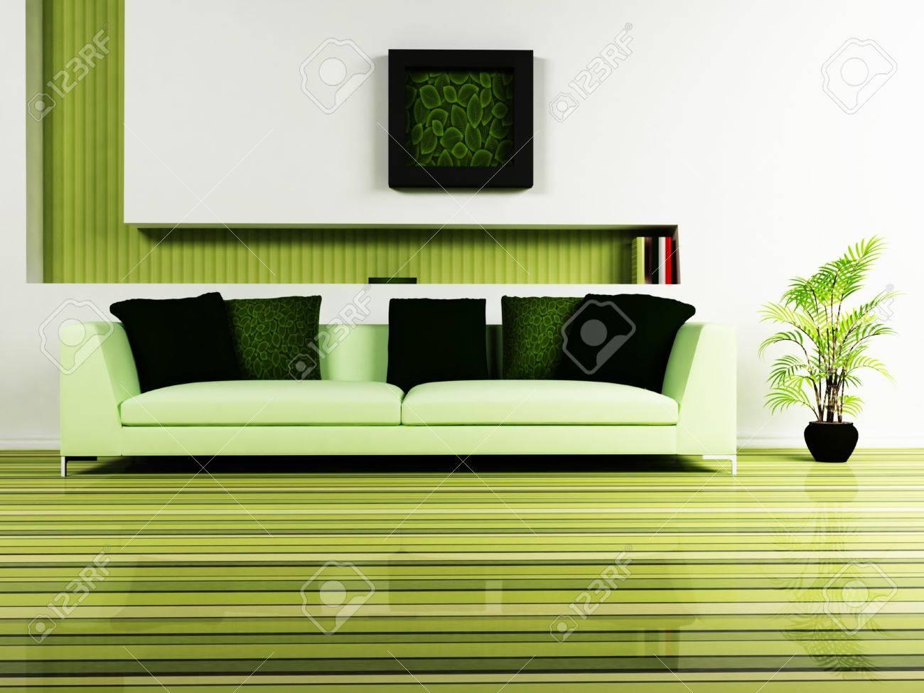 Modern Interior Design Of Living Room With A Nice Sofa, A Plant ...