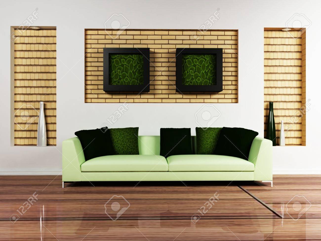 Modern interieur van een woonkamer met een mooie bank en de foto's ...