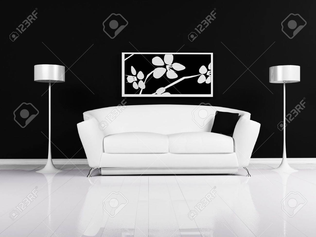Modern interieur van woonkamer met een zwart witte bank en de ...