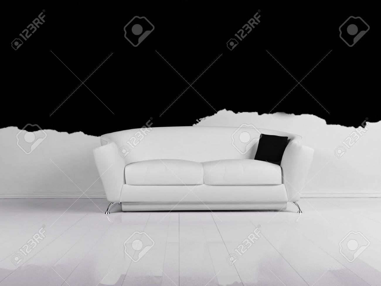 White Couch Living Room Modern Interior Design Of Living Room With A White Sofa Stock