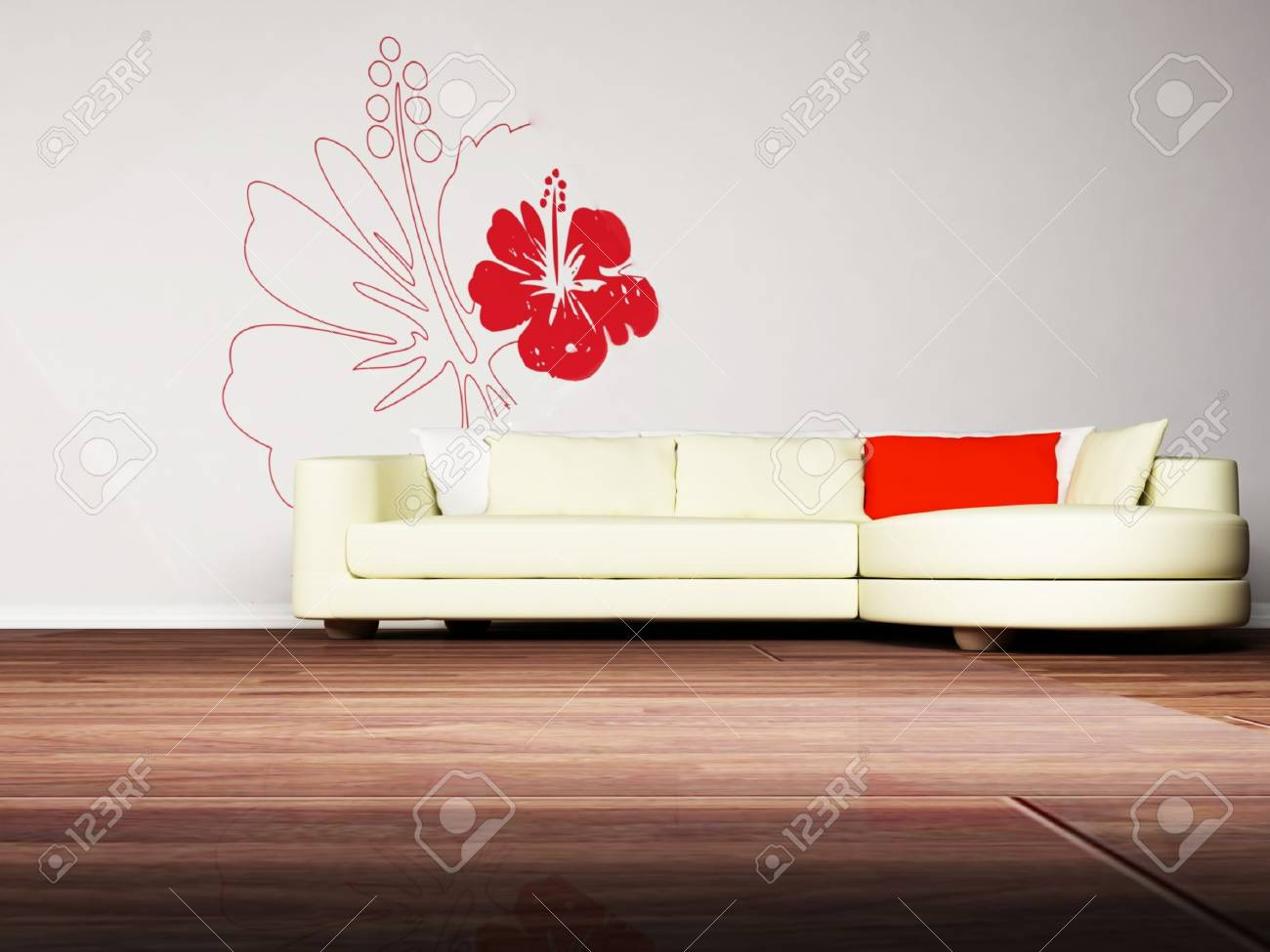 Modern  interior design of living room with a  sofa on the interesting background Stock Photo - 12975094