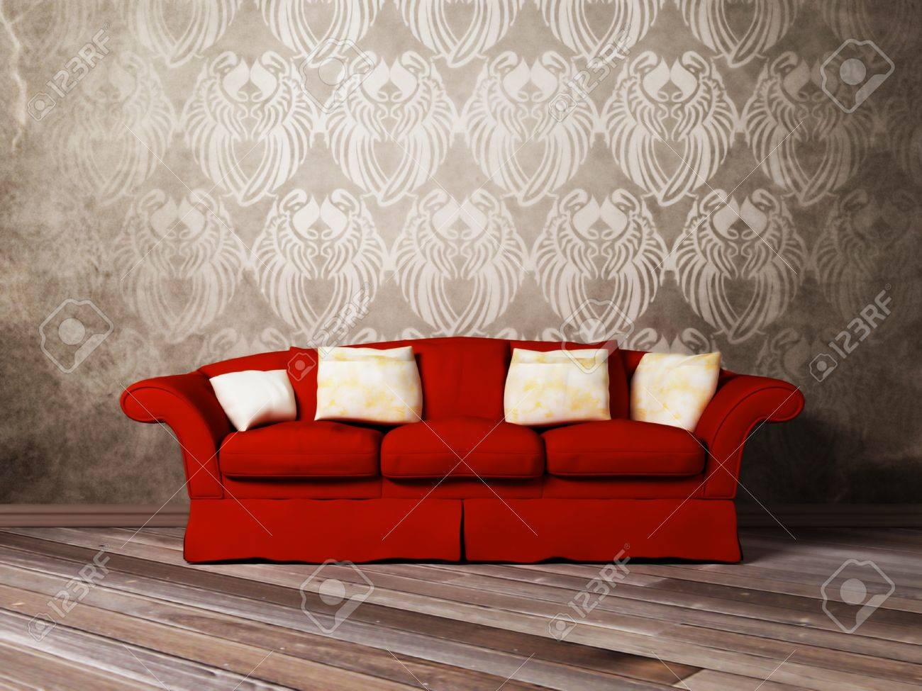 Modern Interior Design Of Living Room With A Red Sofa Stock Photo ...