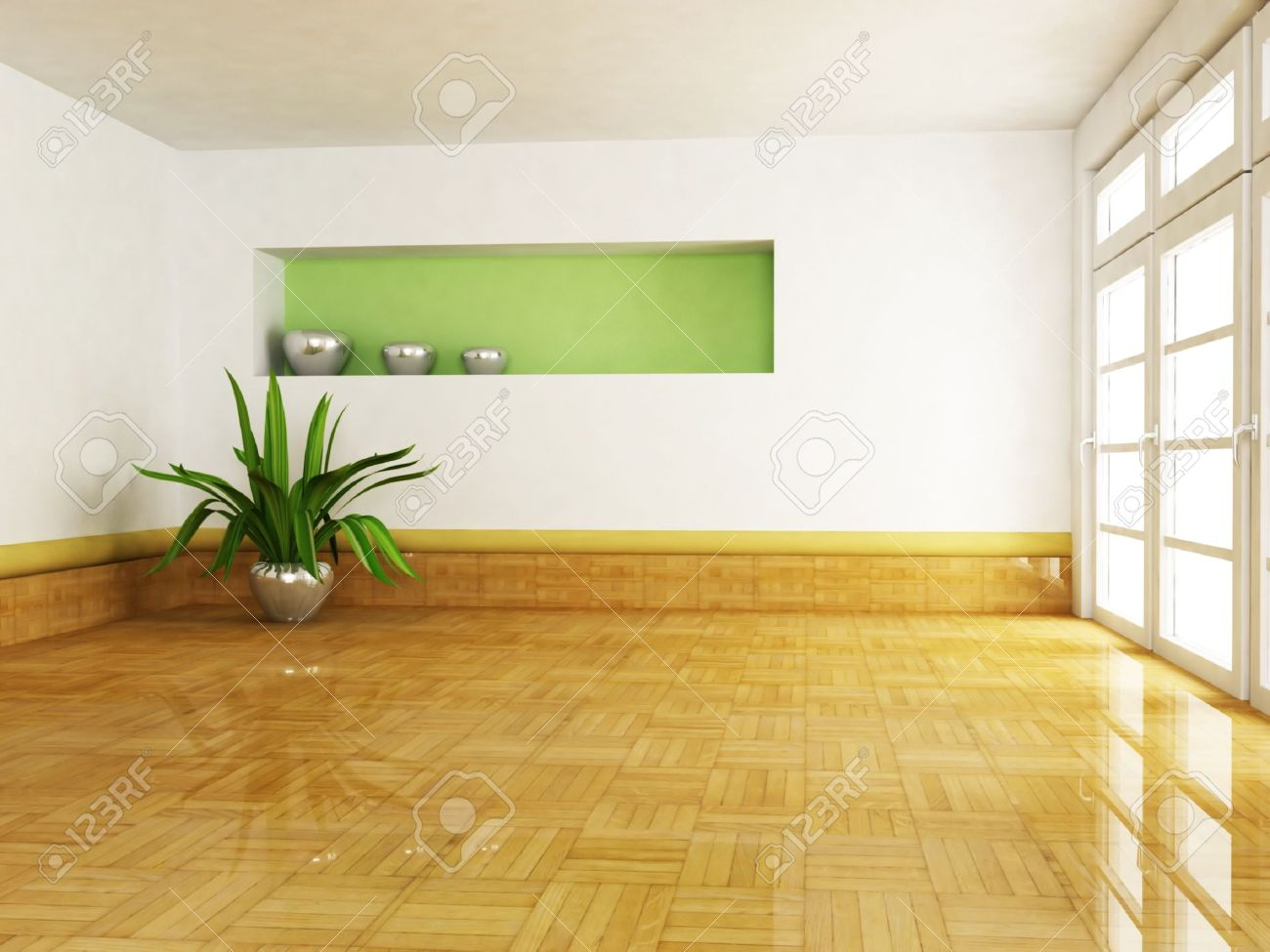 . Interior design scene with a plant in the empty room