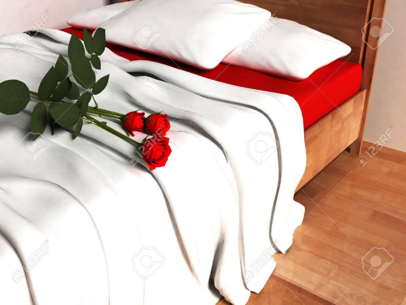 Красивые розы на кровати фото 516-425