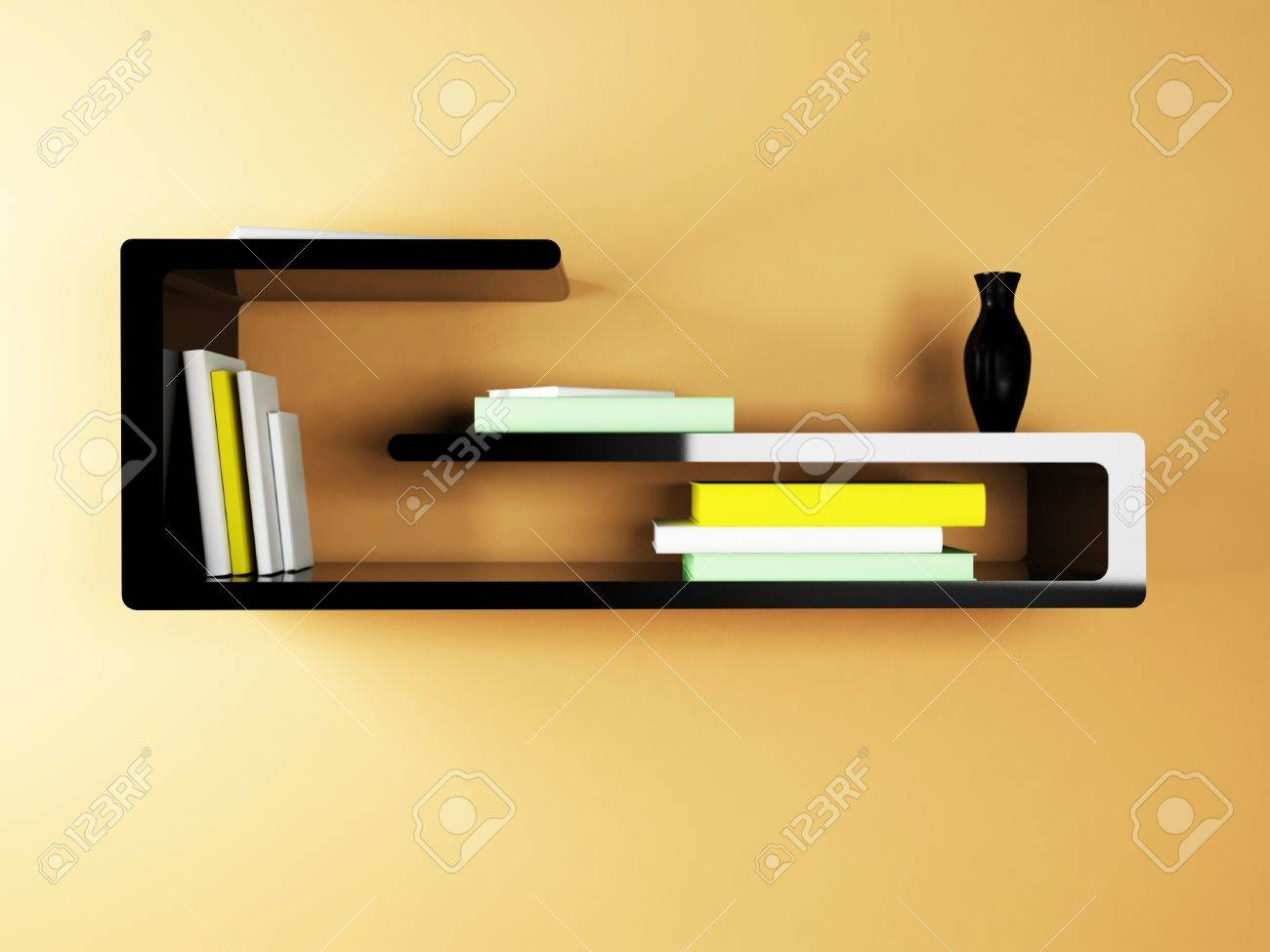 Creative Shelf Creative Shelf On The Wall With The Books Stock Photo Picture And