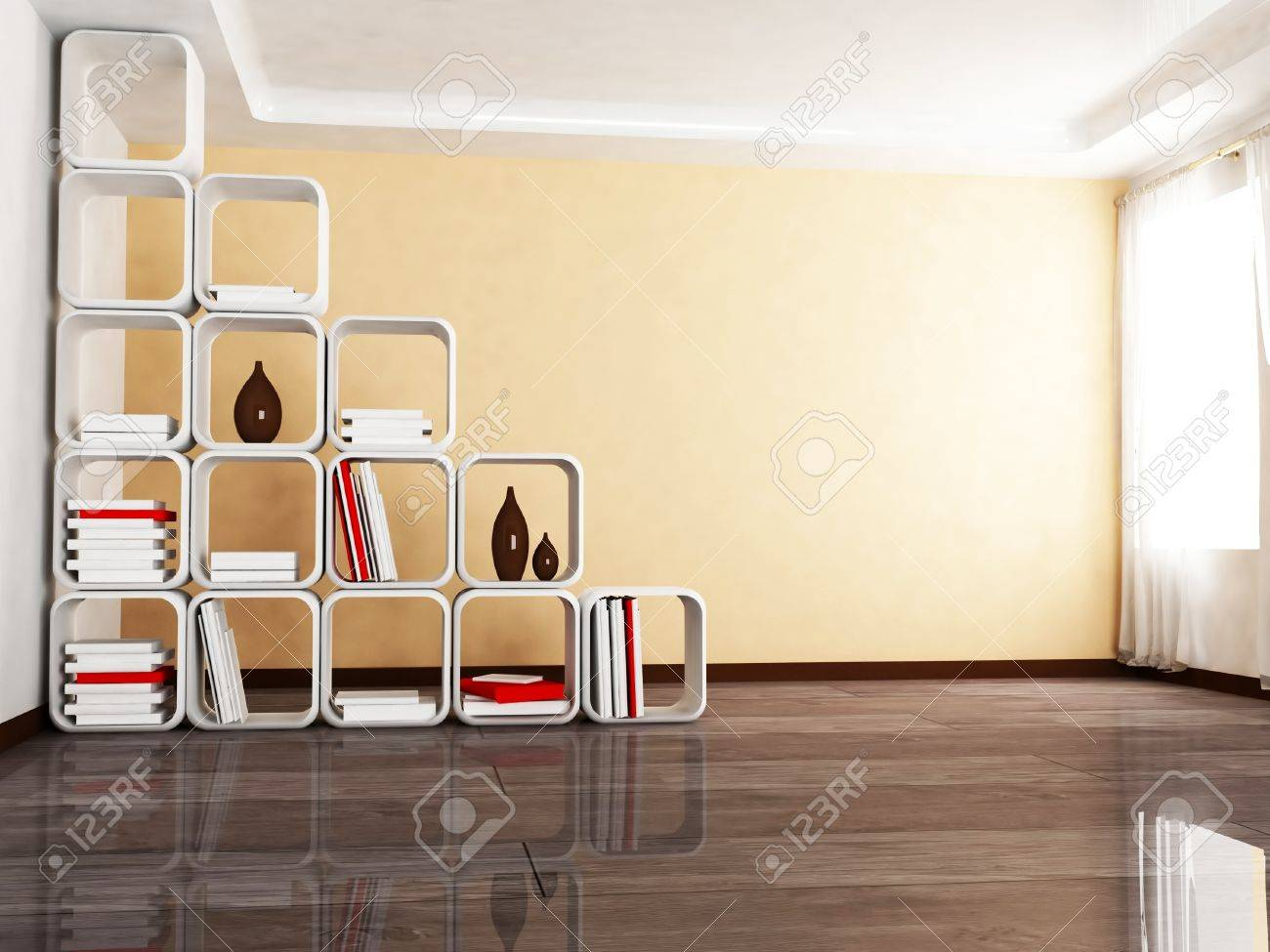 Interior Design Scene With A Creative Screen Withe The Books