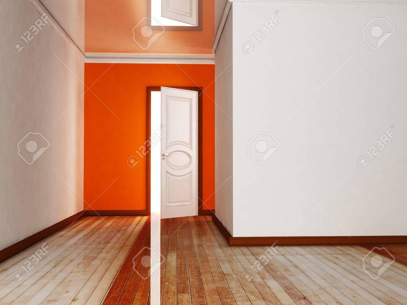 Interior design scene with an open door Stock Photo - 14181670