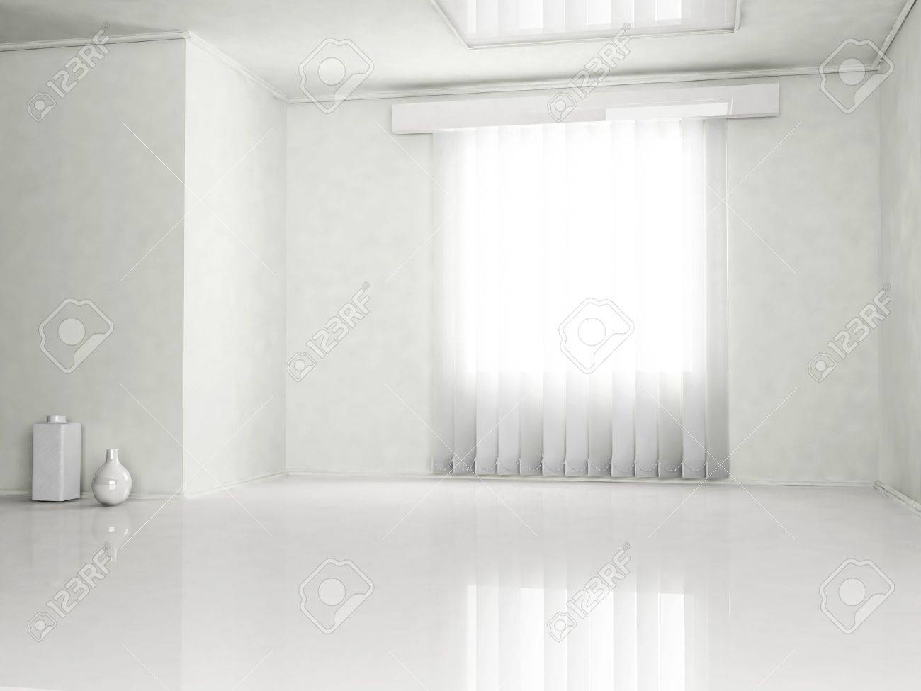 Interior design scene with the vases and a window Stock Photo - 14397723