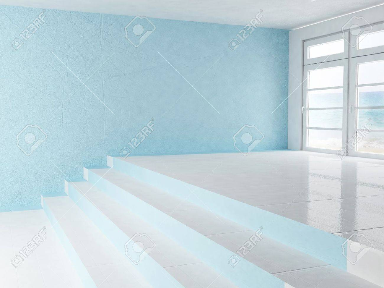 empty interior with a window and a stairs stock photo, picture and