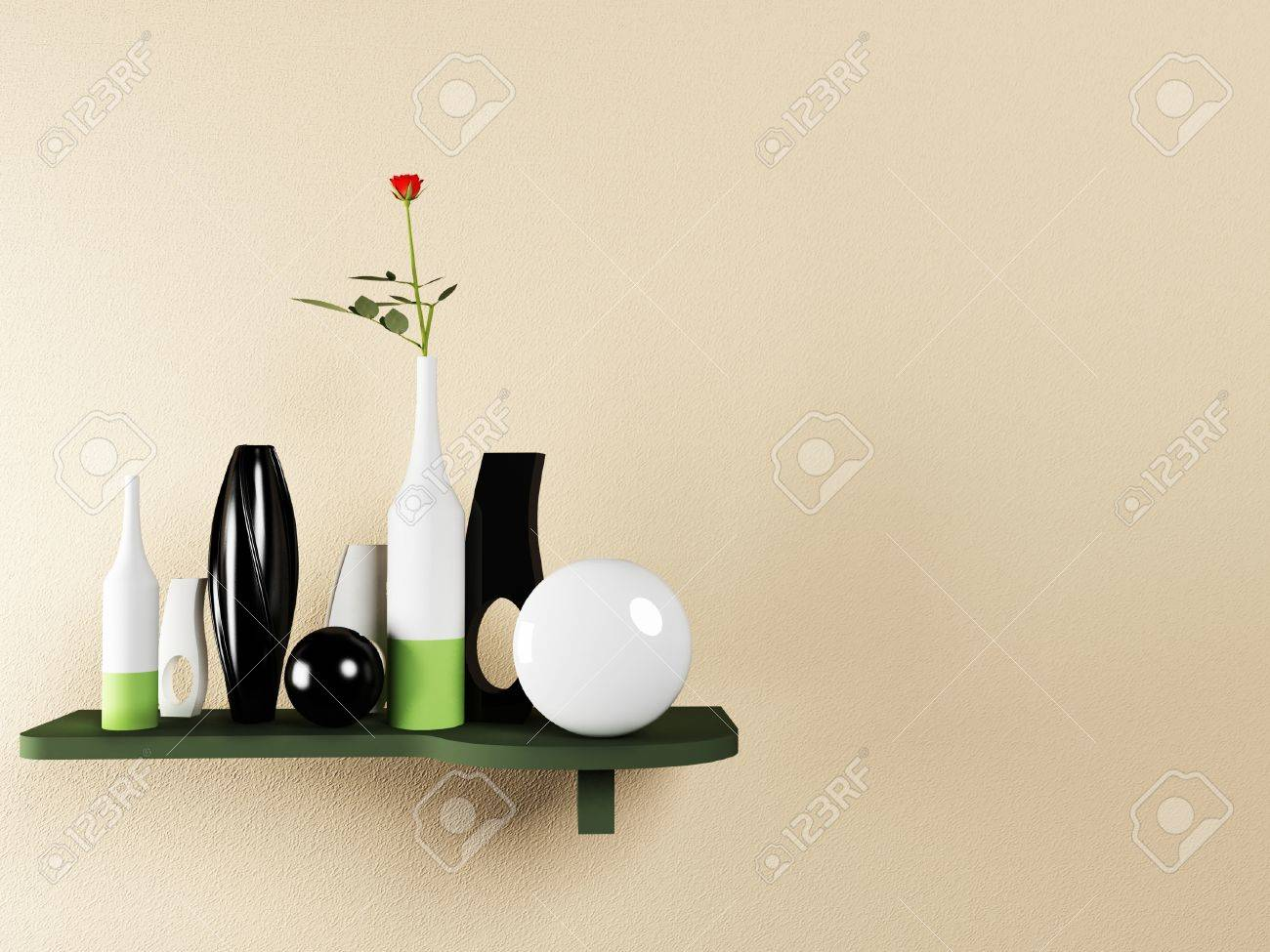 Creative Shelf Creative Shelf On The Wall With The Vases Stock Photo Picture And