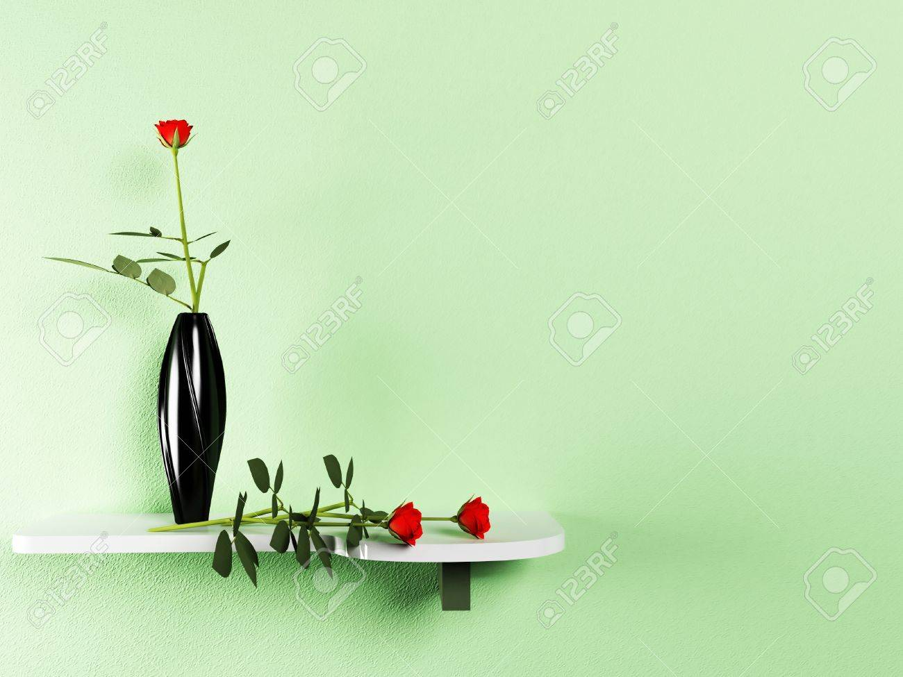 shelf on the wall with the vase and the flowers Stock Photo - 14398232