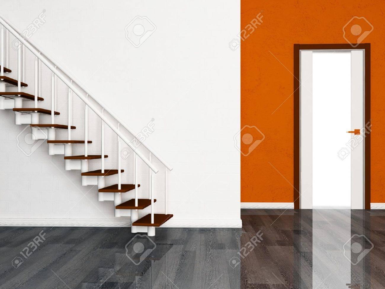 Interieurontwerp scène met een deur en een trap royalty vrije foto