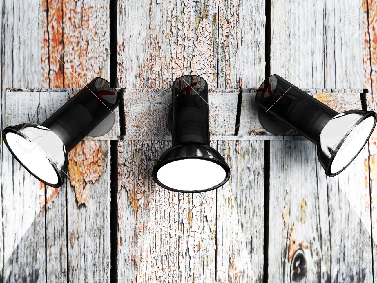 three lamps on the wooden old wall Stock Photo - 14679240