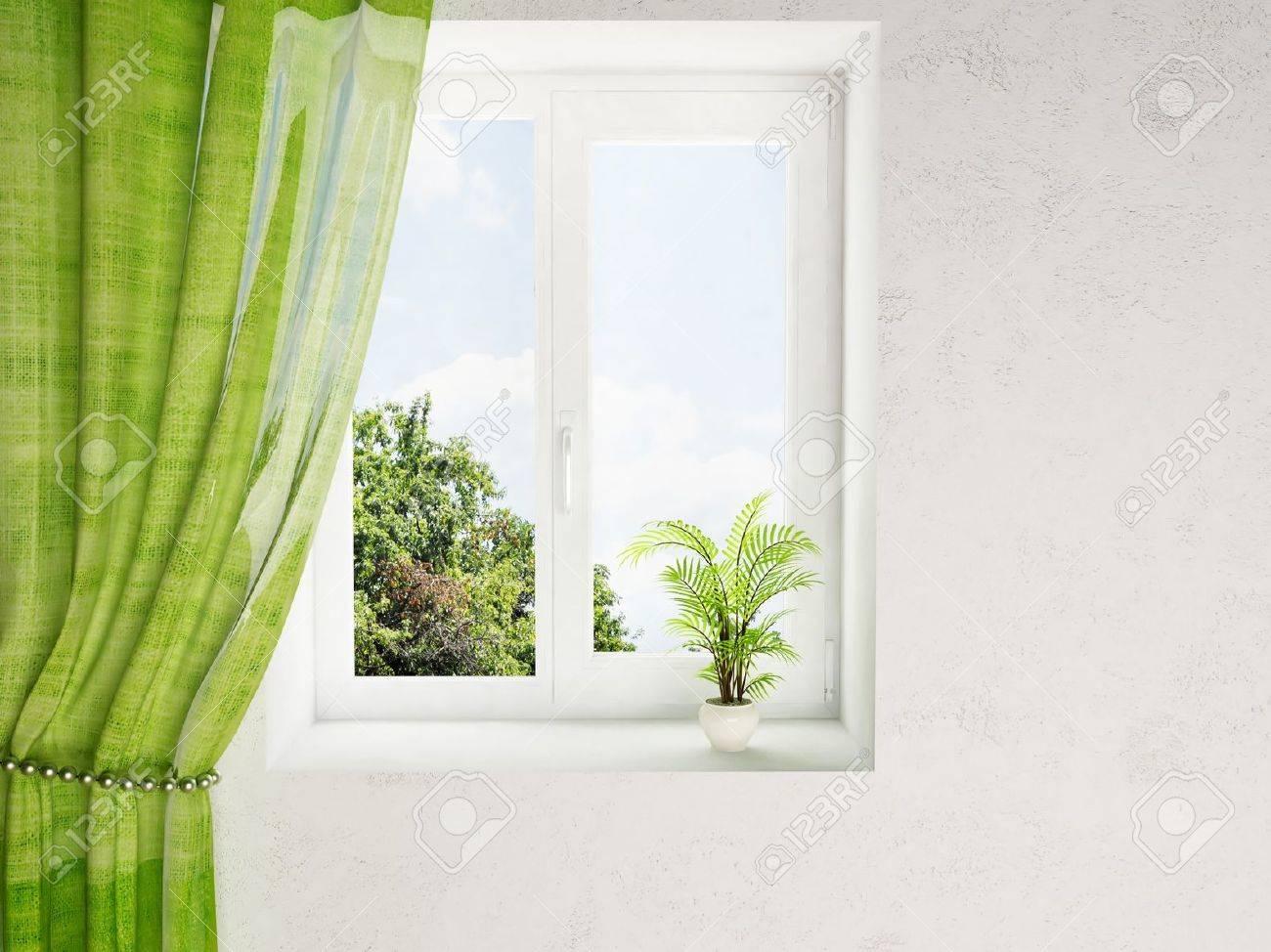Interior Design Window interior design scene with a plant on the window stock photo