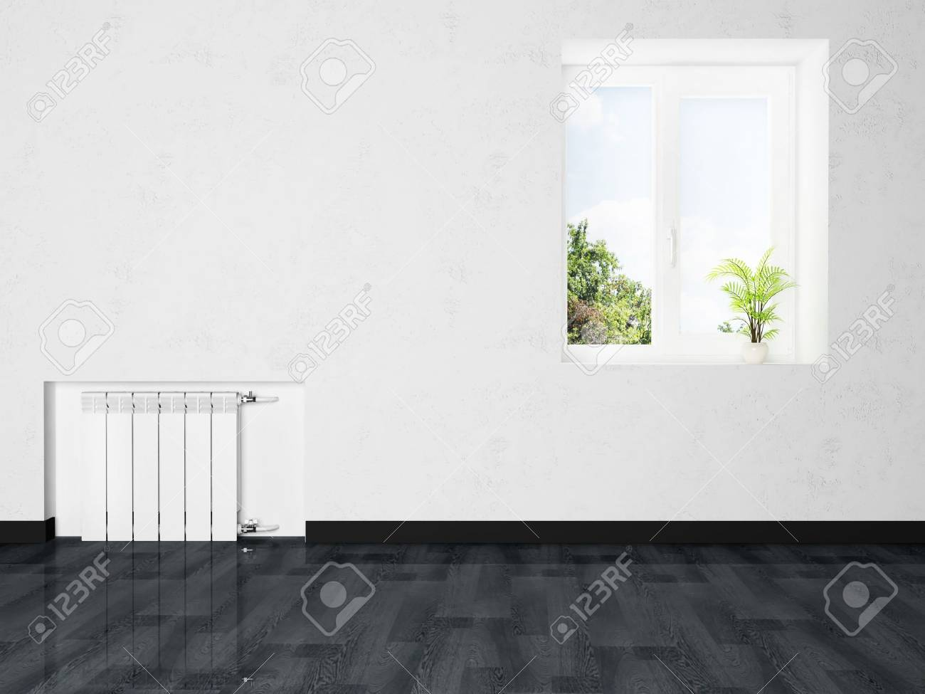 interior design scene with a radiator and a window Stock Photo - 15305535