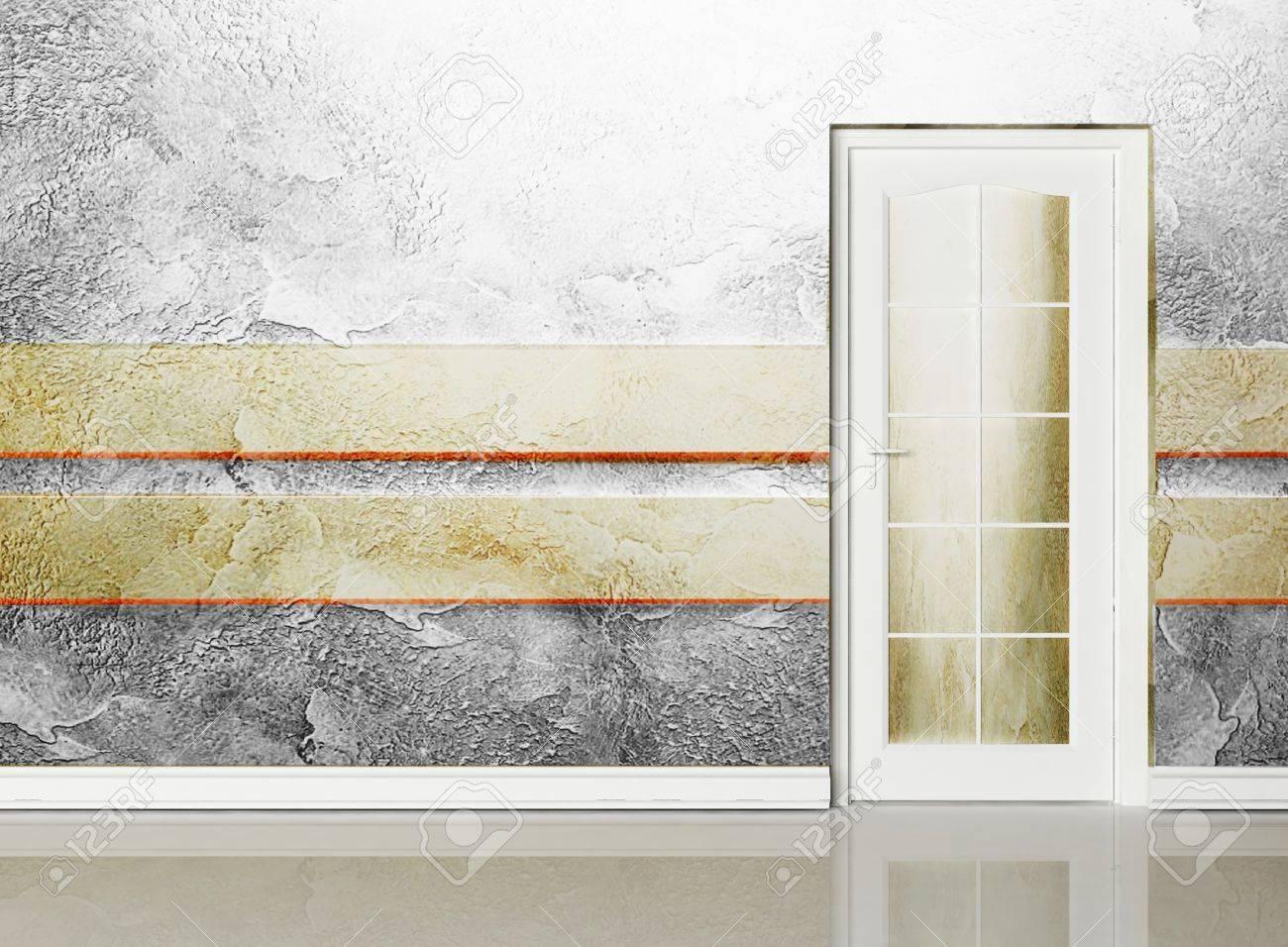 interior design-szene mit einer tür in die kreative wandgestaltung