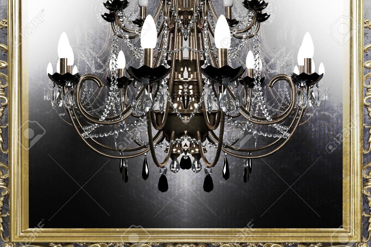 beautiful antique chandelier on grunge background Stock Photo - 15306232