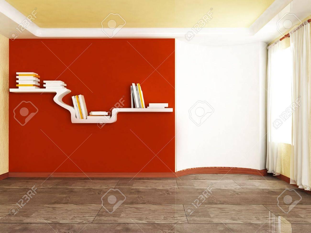 Creative Shelf Interior Design Scene With The Creative Shelf On The Wall Stock