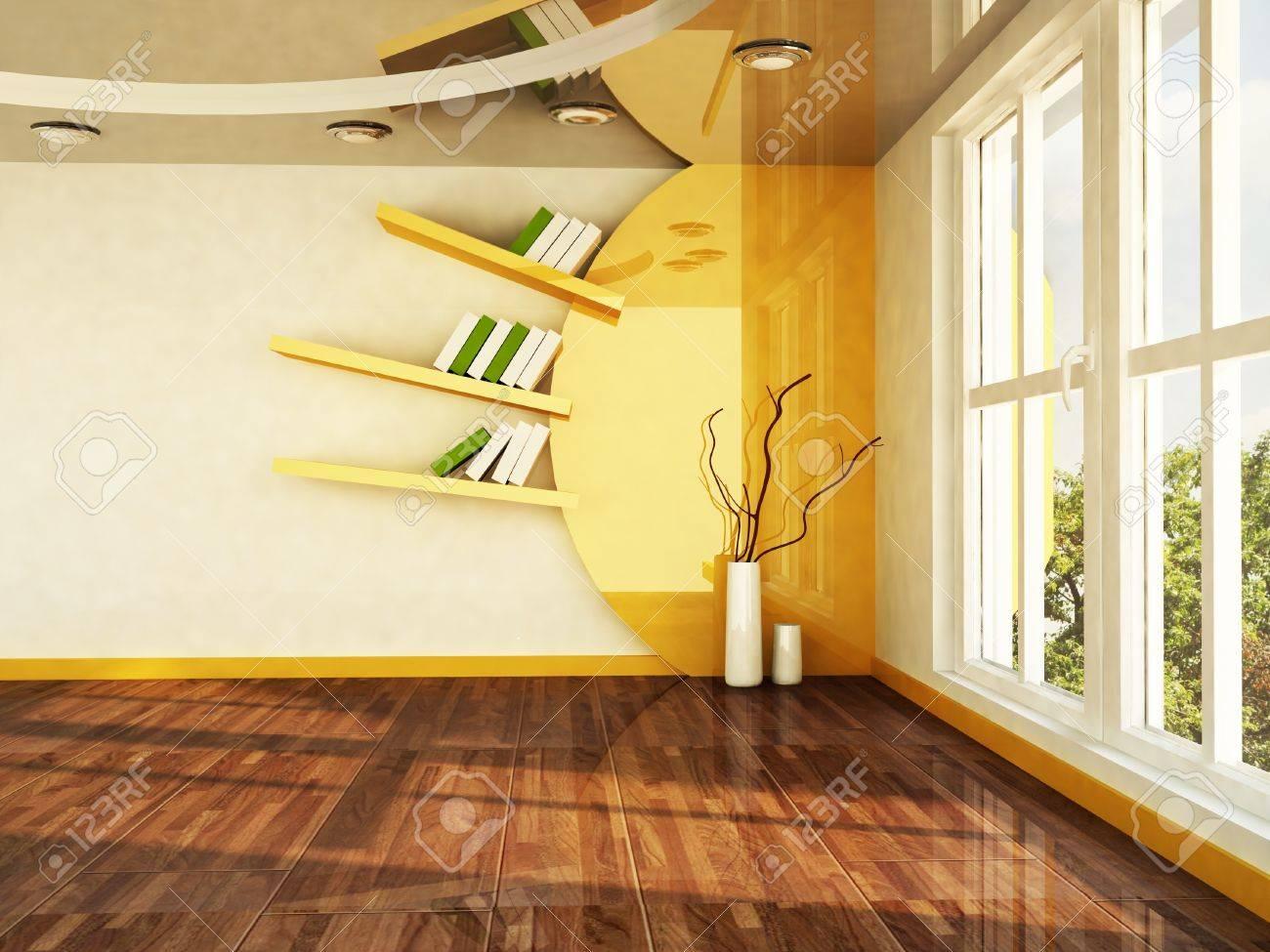 Interior Design Scene With A Big Window And Creative Shelf Stock