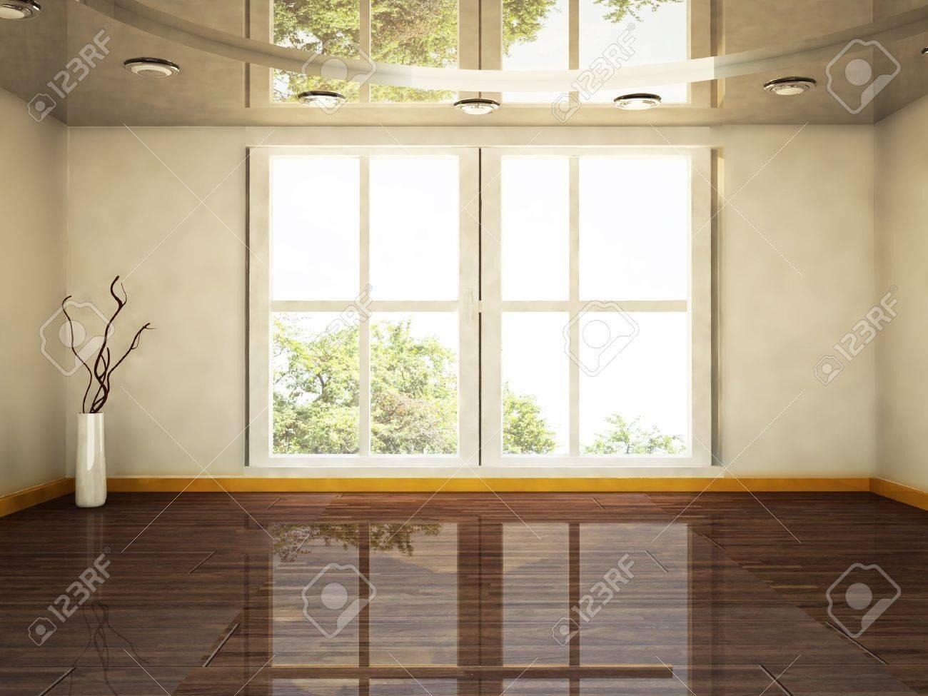 interior design scene with a big window and a vase Stock Photo - 16183433
