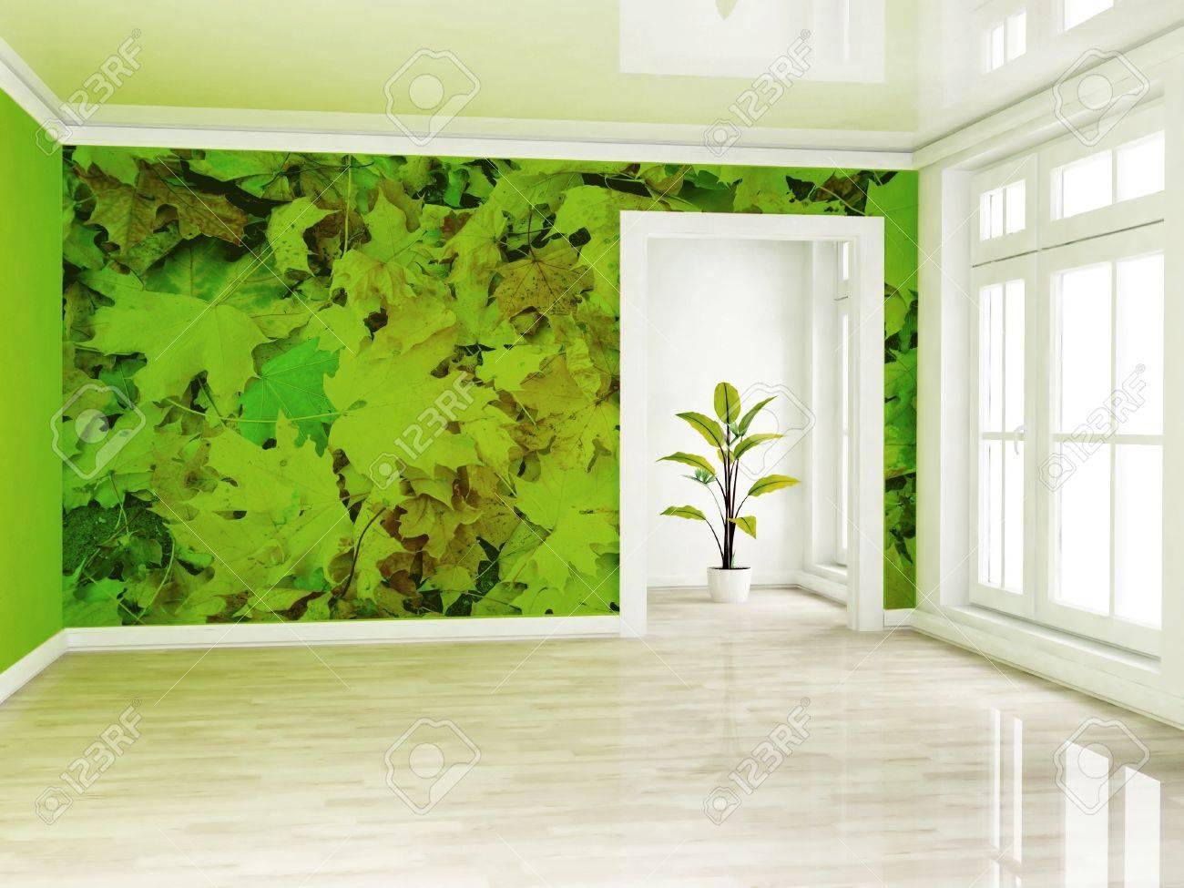 Une Plante Verte Dans La Chambre Vide Pres D Une Fenetre Ce Qui Rend