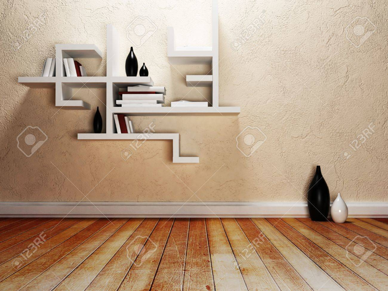 Creative Shelf Creative Shelves On The Wall Rendering Stock Photo Picture And