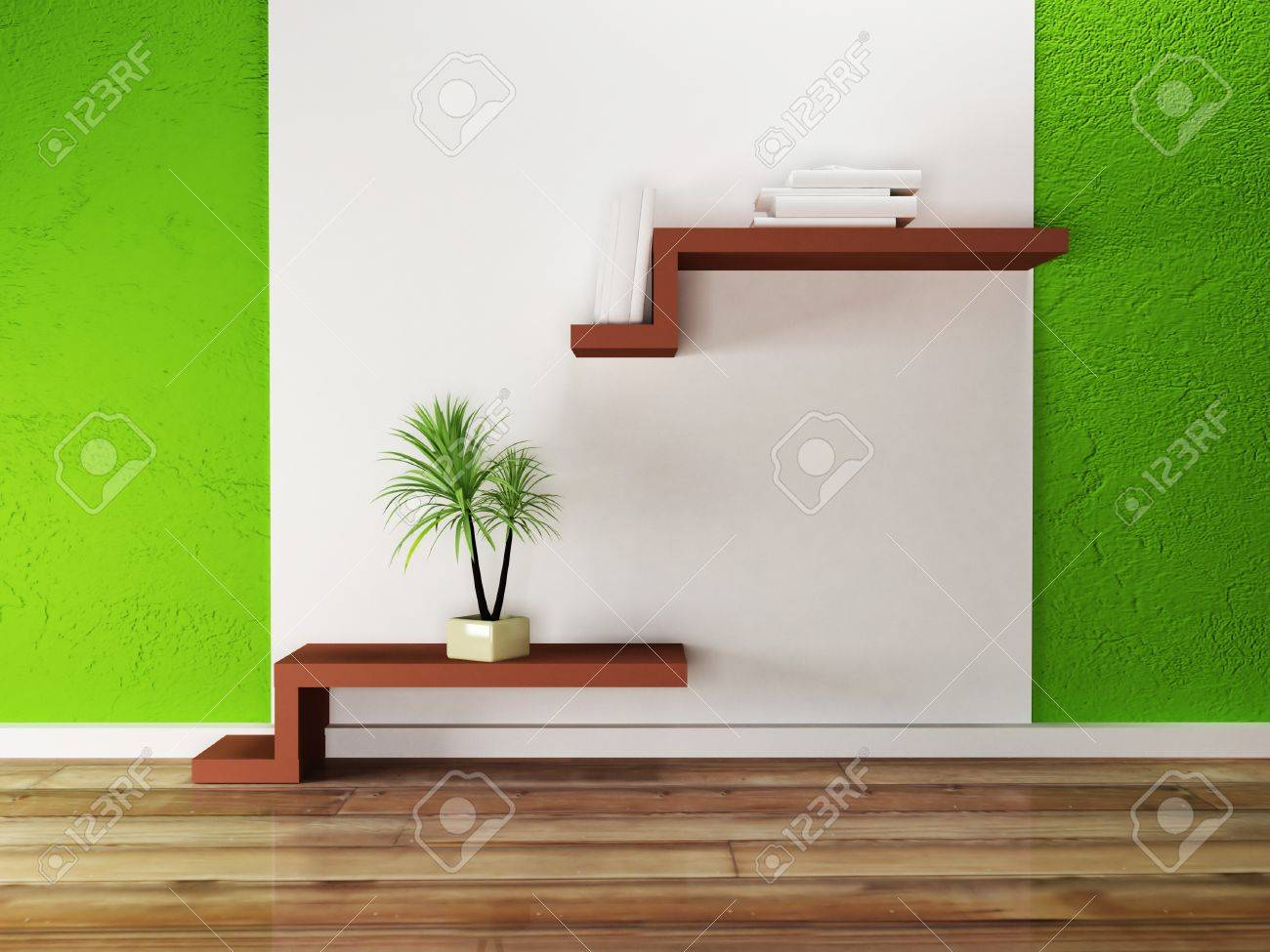 creative shelf on the wall and a palm, rendering Stock Photo - 17358434