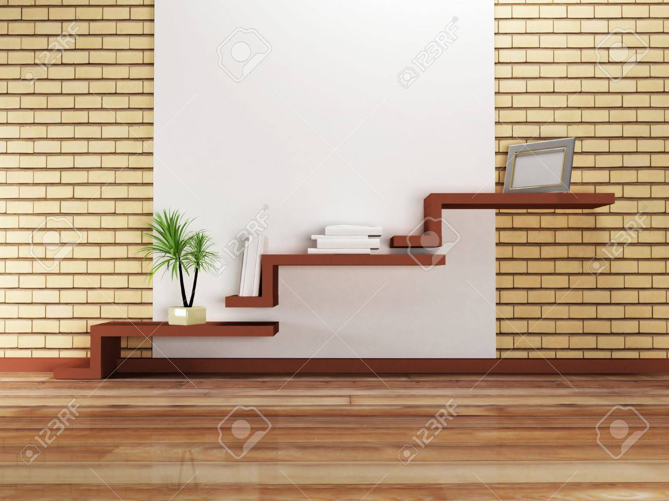 Creative Shelf Creative Shelf On The Wall And A Palm Rendering Stock Photo