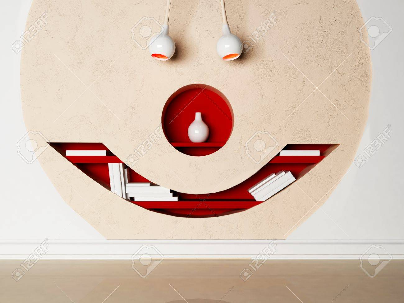 creative shelves on the wall in the shape of the face stock photo