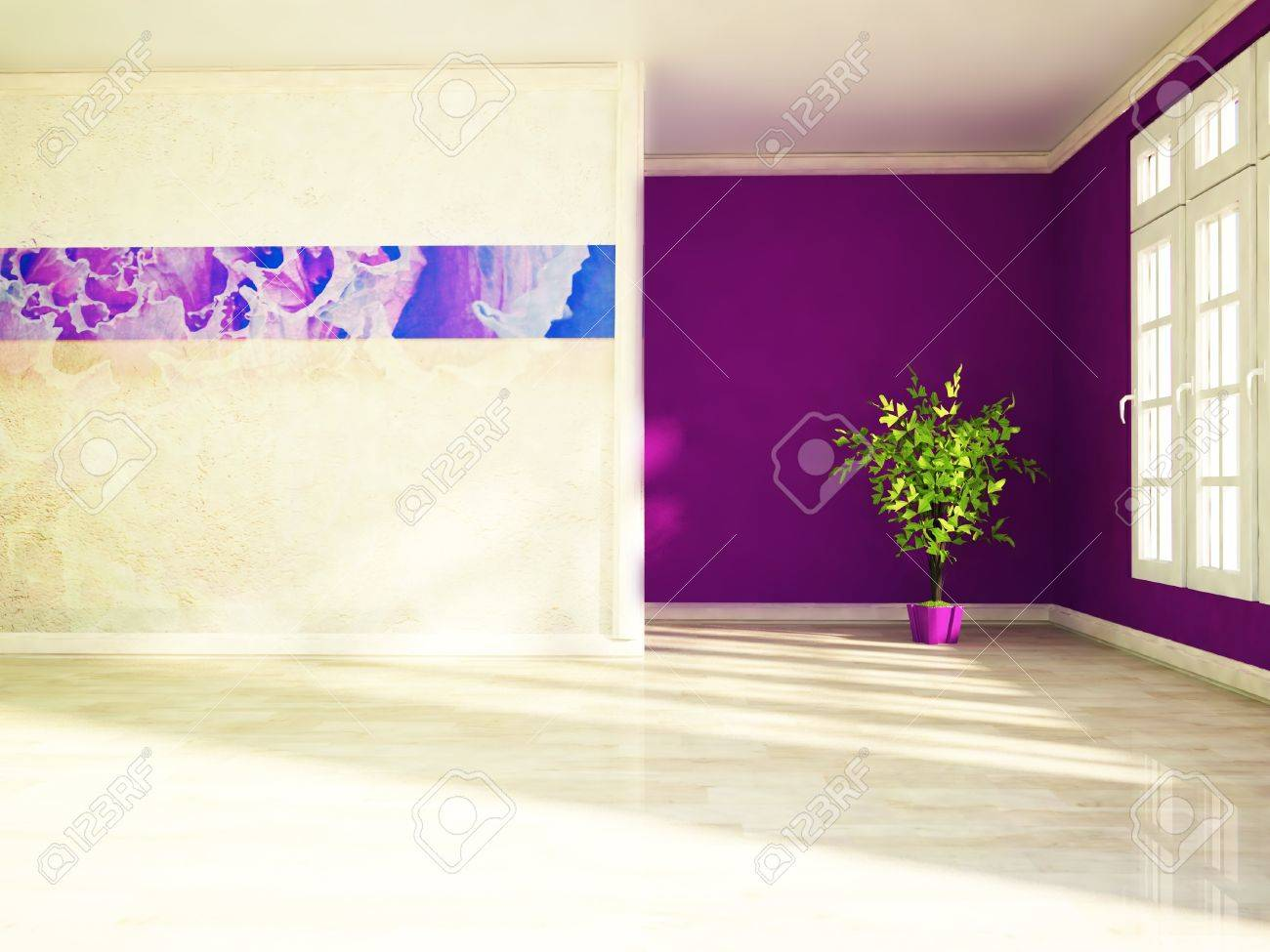 a green plant in the  room near the window Stock Photo - 18233450