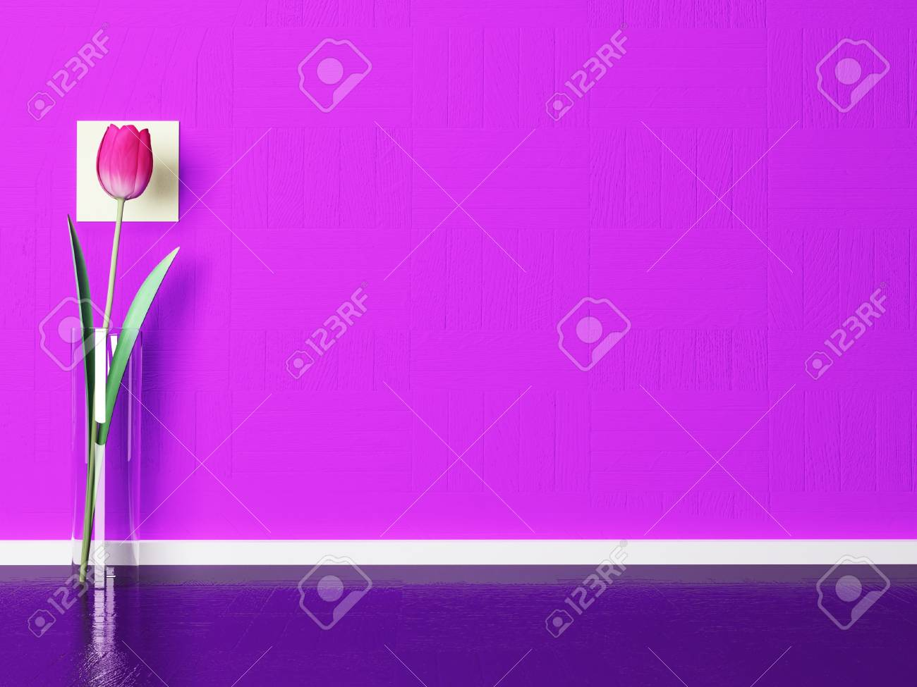 beautiful tulips in a glass vase on the floor Stock Photo - 18764188