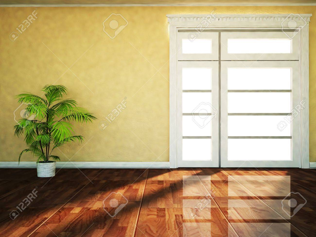 a plant near the window, rendering Stock Photo - 18764180