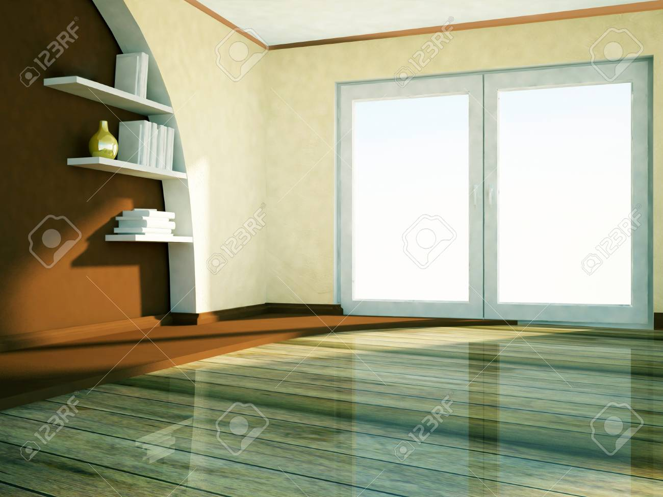 a big window and the shelves with the books Stock Photo - 22268965