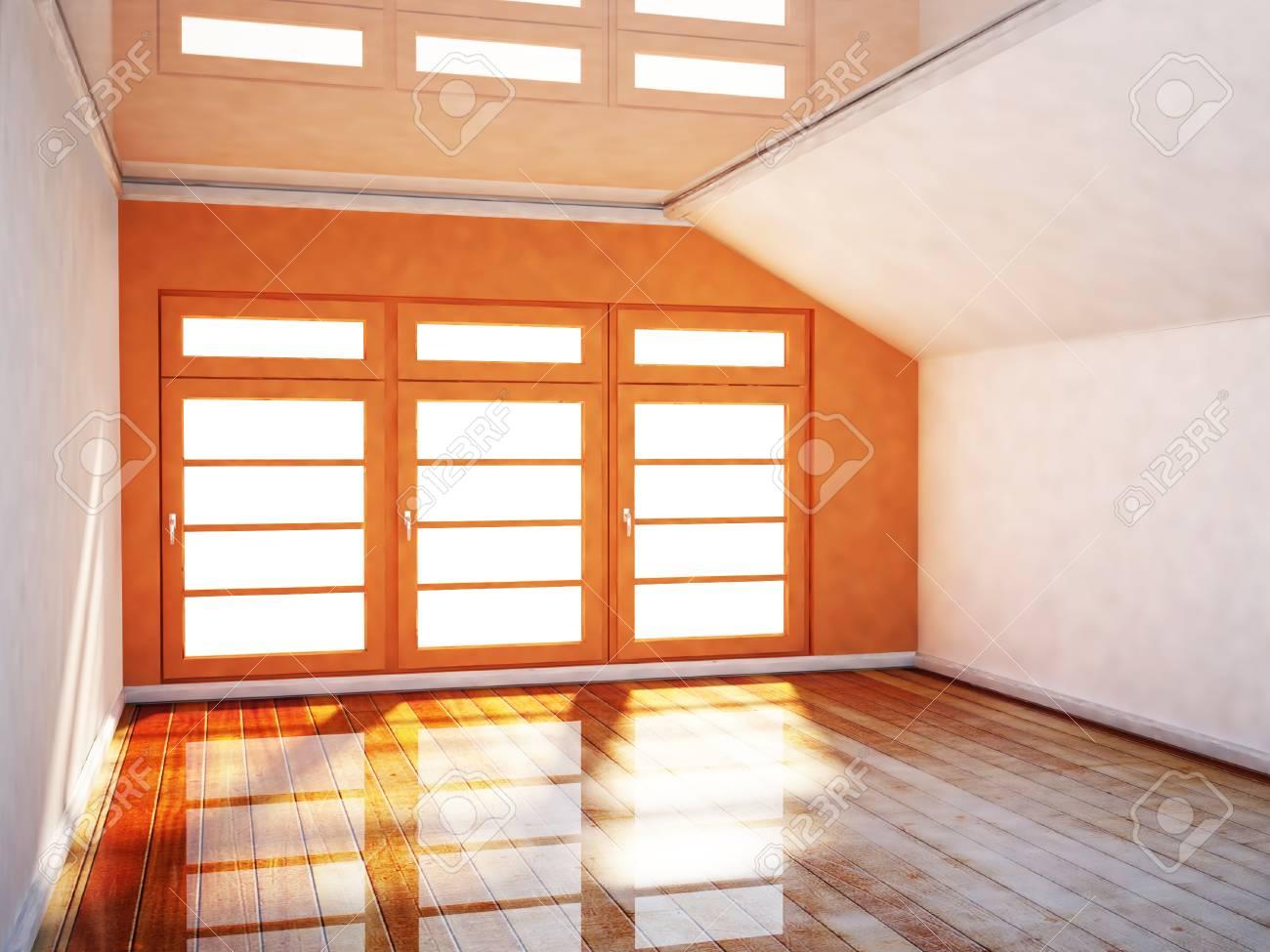 Chambre vide dans les couleurs orange et blanc et une grande fenêtre