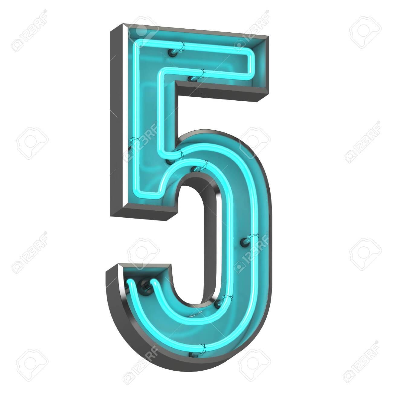 3d neon number five - 128335588