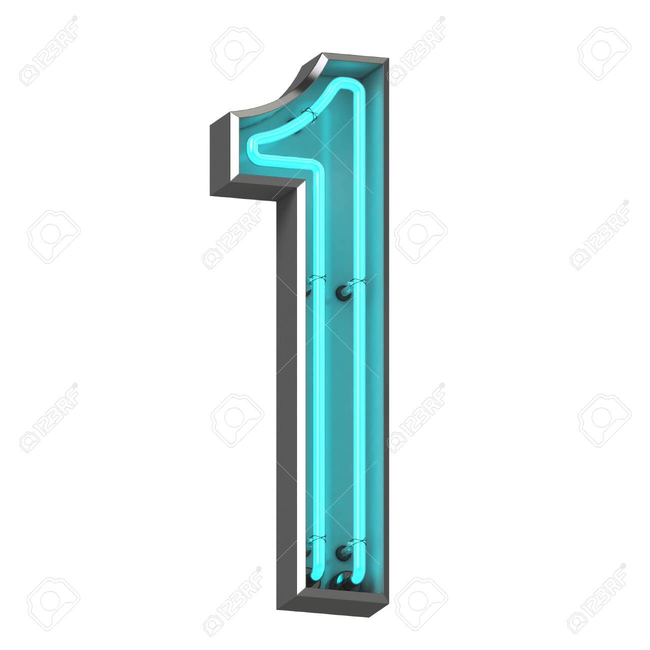 3d neon number one - 128335605