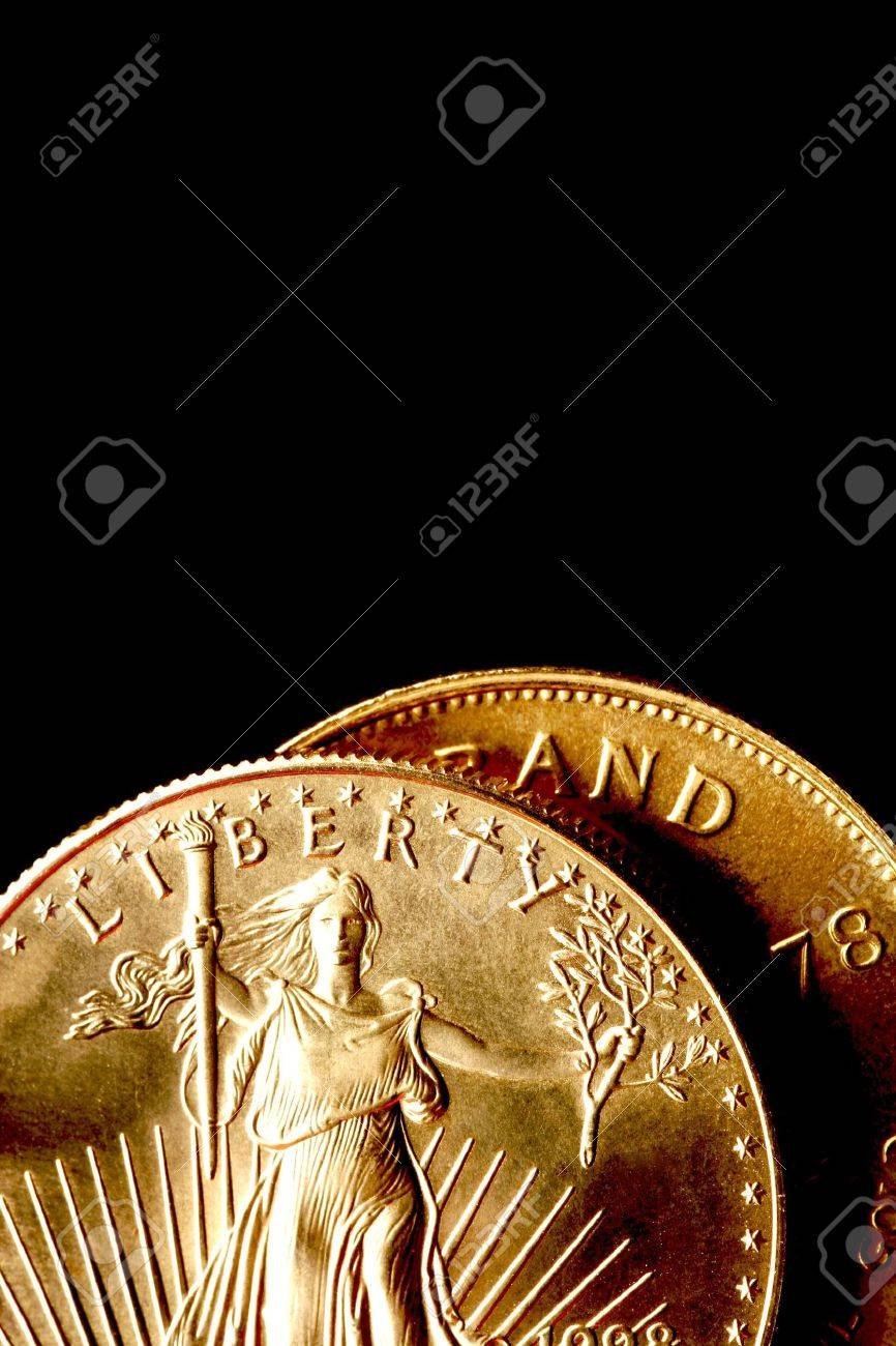 bf9fbd221a1 Gold Coins on Black Background Stock Photo - 769800