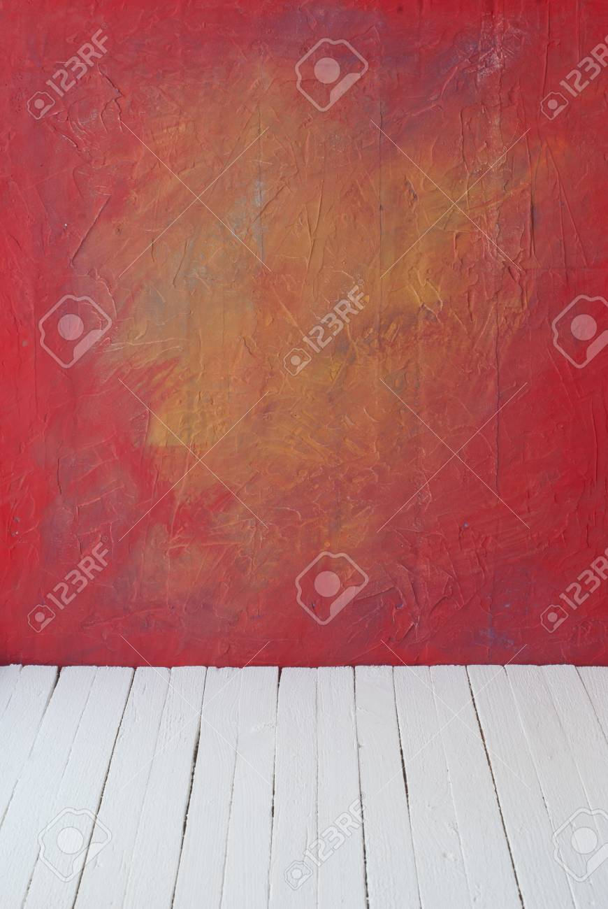 Vider Une Couleur Intérieur De La Salle Millésime Sans Plafond De Mur De Ciment De Peinture De Grunge Et Vieux Plancher De Bois Motif De La Galerie
