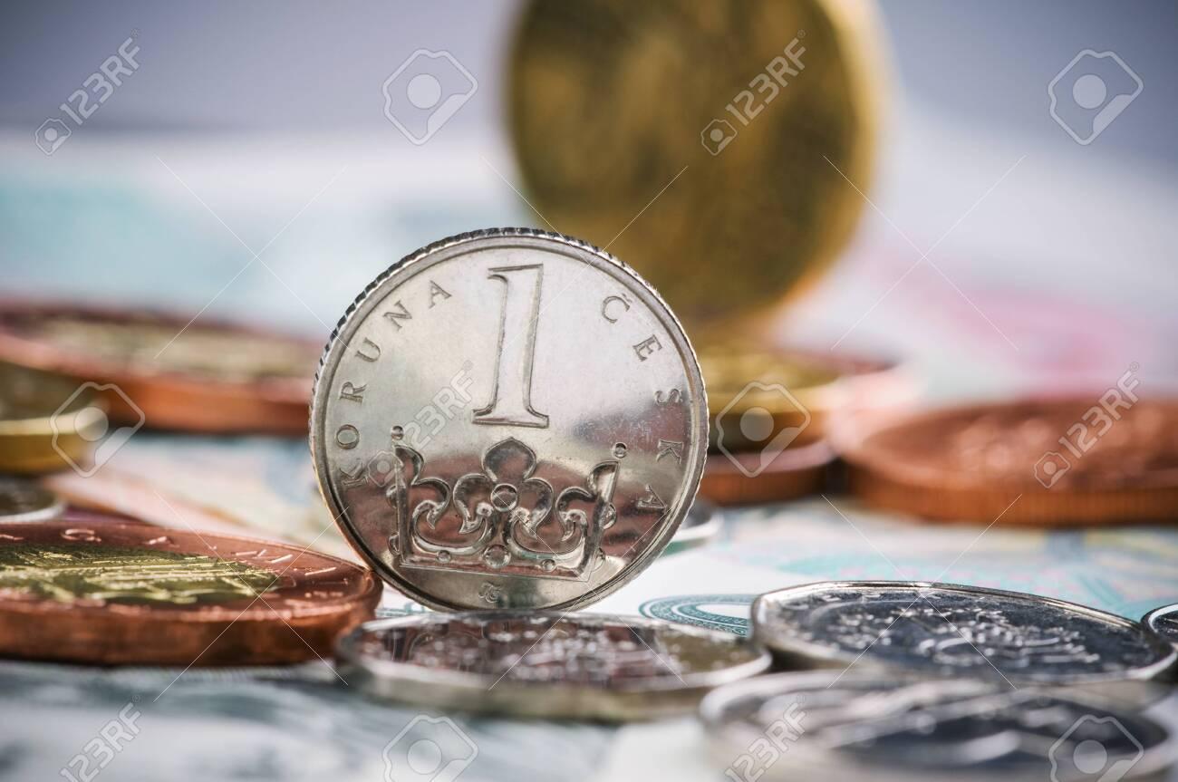 coins of czech currency - Czech Koruna - europe money - 143423677