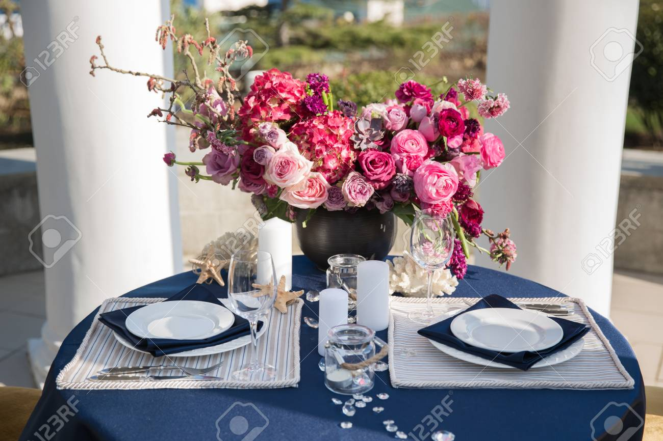 Stock Photo - Table setting at a luxury wedding or another catered event. Marine themes & Table Setting At A Luxury Wedding Or Another Catered Event. Marine ...