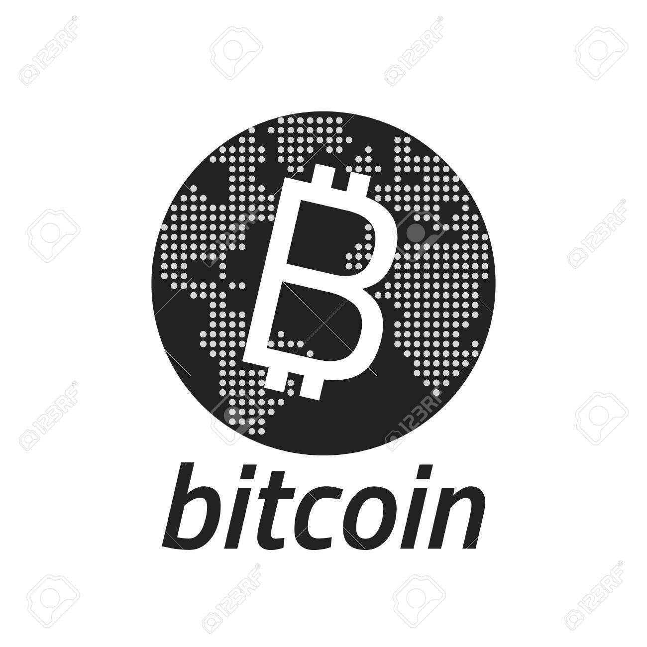 Bitcoin Logo And Dotted World Map Editable Eps10 Vector Transparent Background Stock