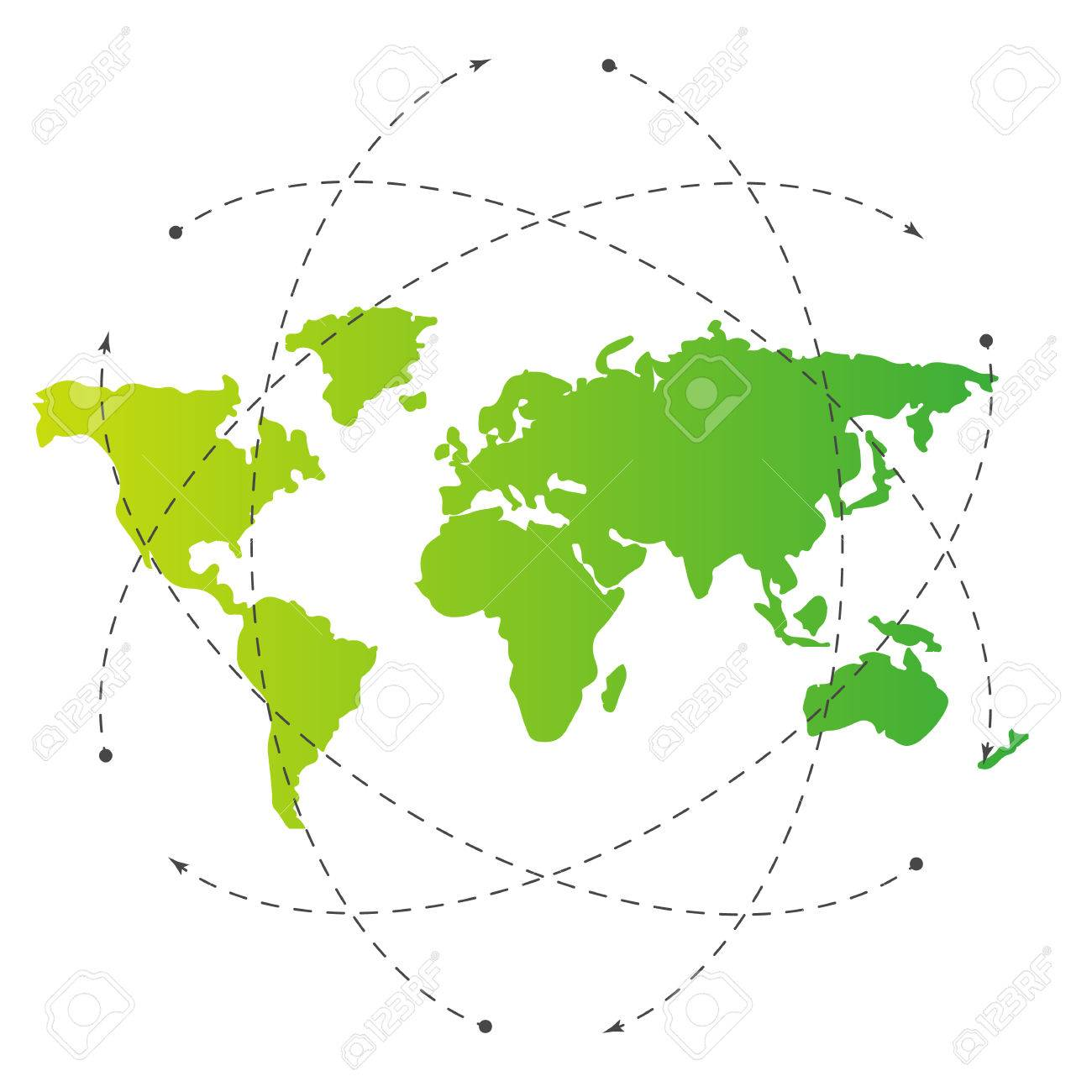 Green world map and blank orbit lines illustration template green world map and blank orbit lines illustration template for citybanner website design gumiabroncs Images