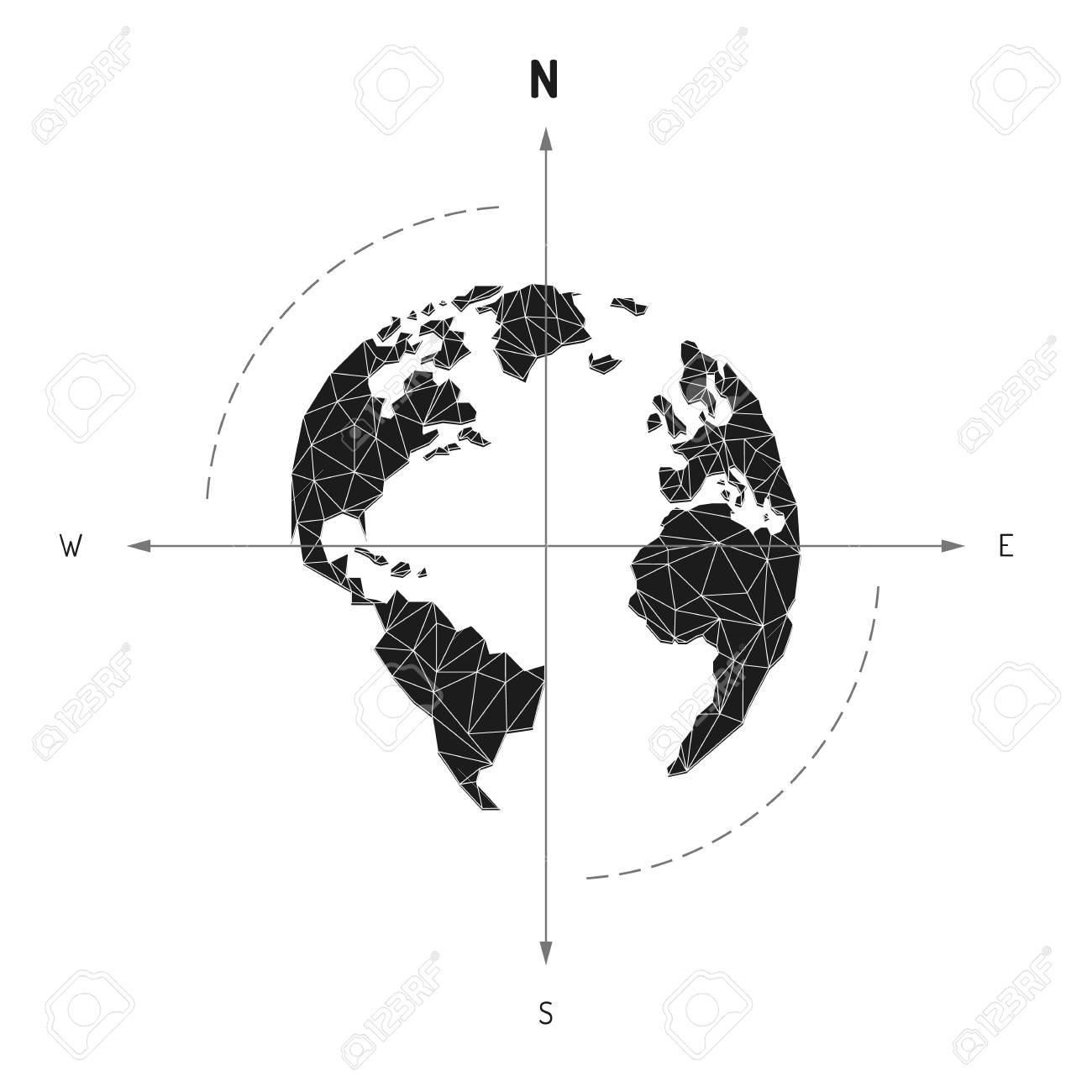 Globe world map compass arrow nautical travel america europe globe world map compass arrow nautical travel america europe atlantic ocean lowpoly triangular gumiabroncs Image collections