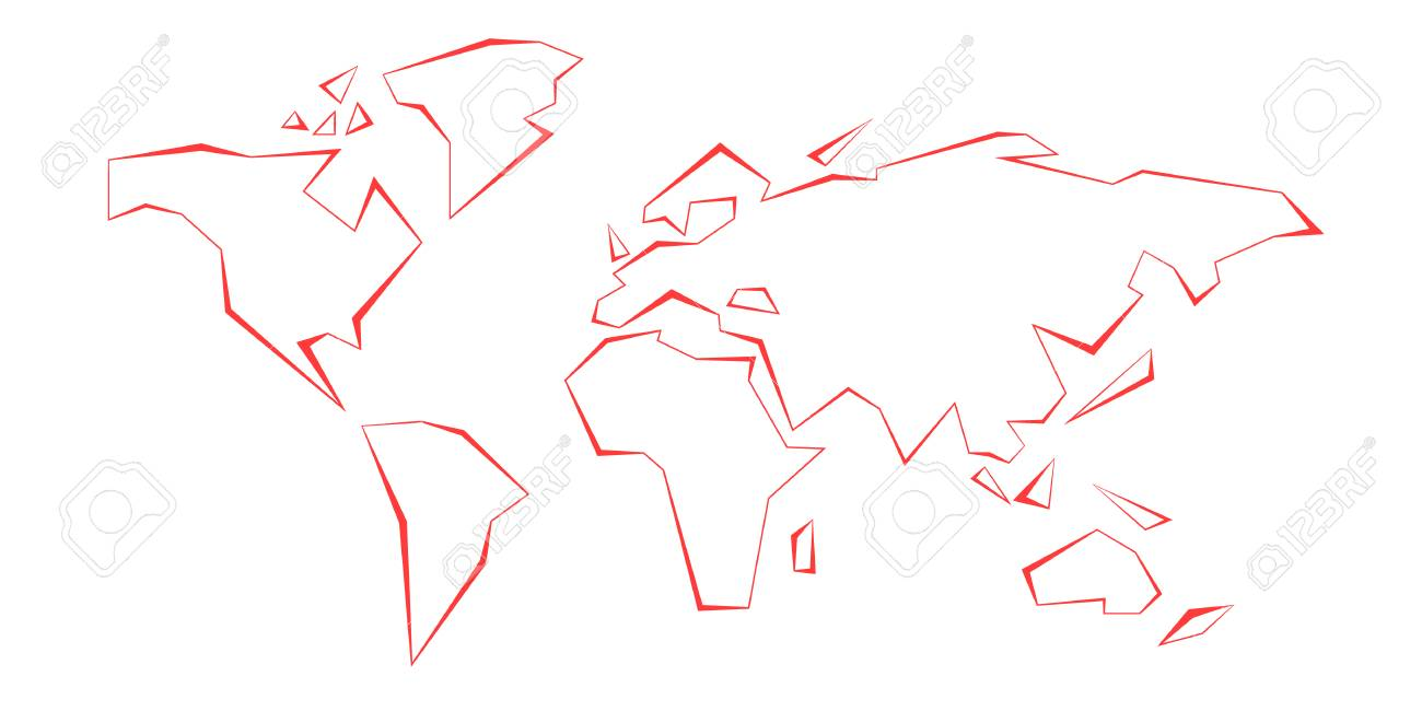 Contour continents world map red vector illustration white contour continents world map red vector illustration white background eps10 gumiabroncs Images