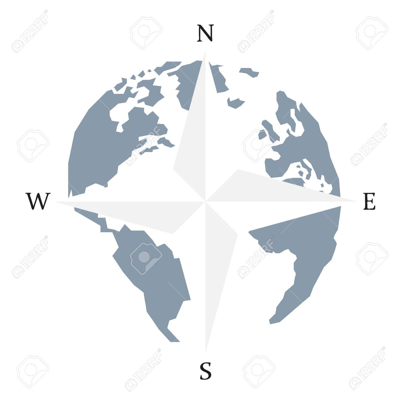 Globe world map compass arrow nautical travel wind rose compass globe world map compass arrow nautical travel wind rose compass vector icon america gumiabroncs Choice Image
