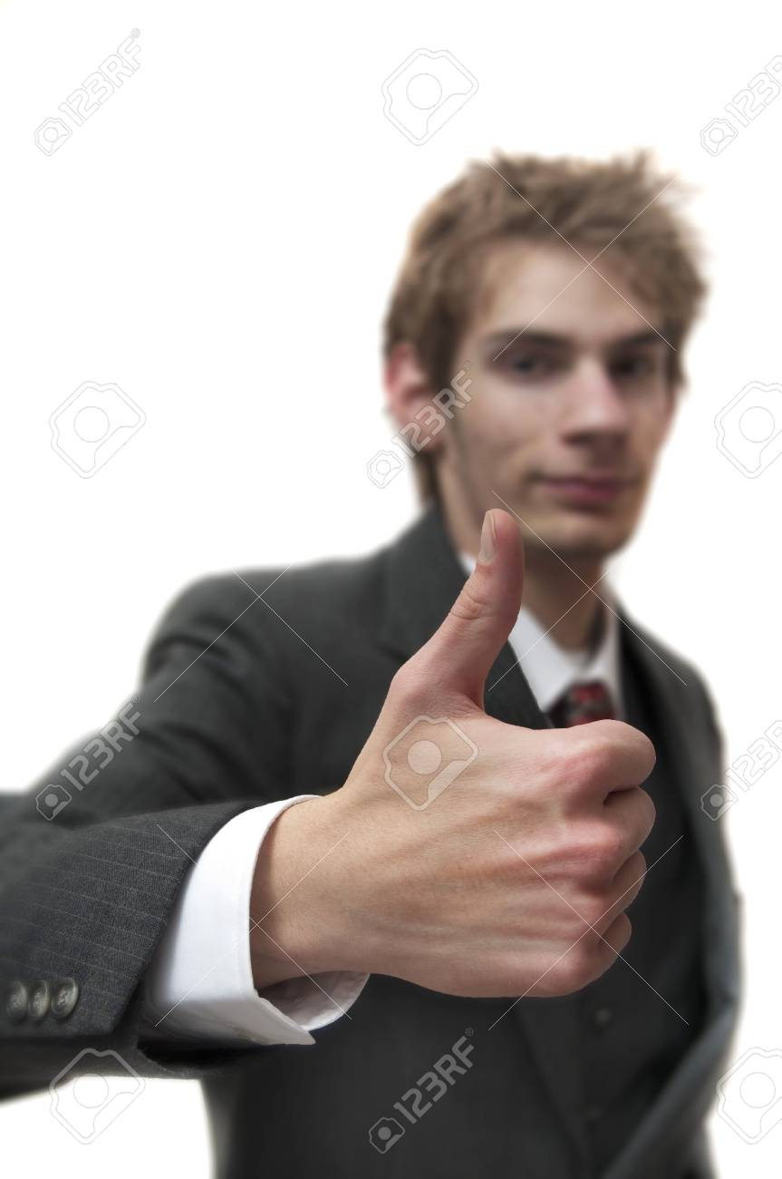 Man with thumbs up in suit with sample text isolated on white background Stock Photo - 6154067