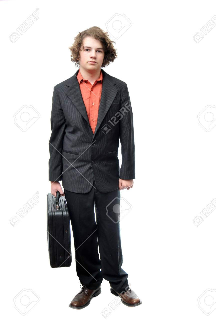 Young adult holding briefcase with neutral expression isolated on white background Stock Photo - 6166432